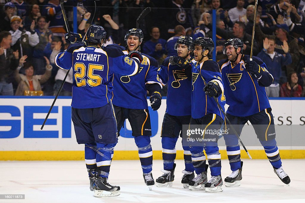 Members of the St. Louis Blues congratulate teammate Chris Stewart #25 after he scored a goal against the Minnesota Wild at the Scottrade Center on January 27, 2013 in St. Louis, Missouri. The Blues beat the Wild 5-4 in overtime.