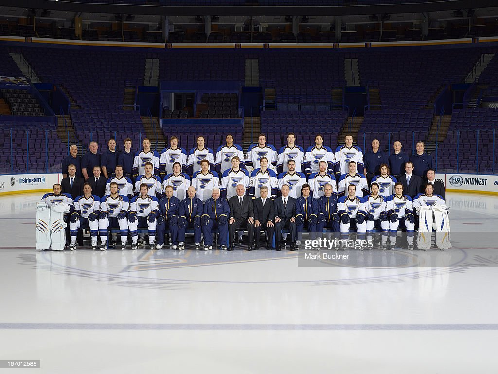 Members of the St. Louis Blues pose for the official 2012-2013 team photograph at the Scottrade Center on April 15, 2013 in St. Louis, Missouri.