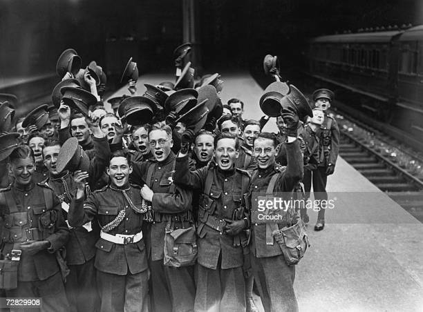 Members of the Stoneyhurst public school OTC at a London railway station on their way to their annual camp at Aldershot 31st July 1928