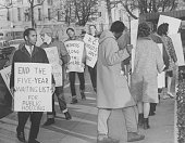 Members of the Student Nonviolent Coordinating Committee picketing the Bureau of Housing Licenses and Inspection Washington DC February 8 1964