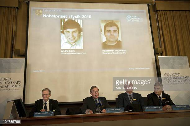 Members of the Swedish Royal Academy of Sciences in Stockholm announce on October 5 2010 that Russianborn scientists Andre Geim and Konstantin...