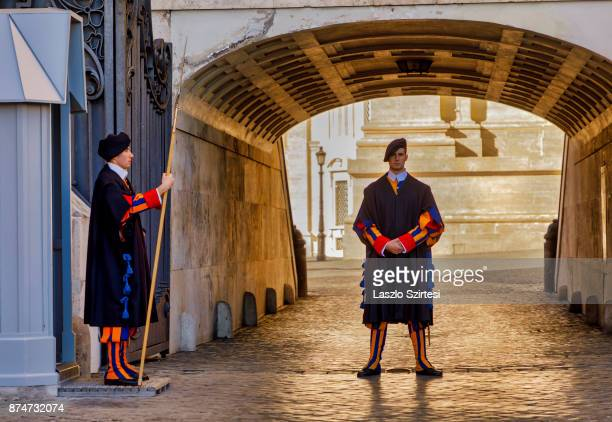 Members of the Swiss Guard are seen at St Peter's square on November 1 2017 in Vatican City Vatican
