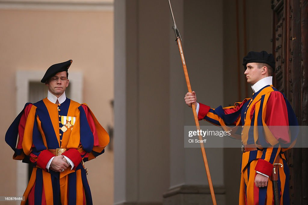 Members of the Swiss Guard prepare to close the doors to Pope Benedict XVI's residence in Castel Gandolfo and transfer responsibility for his security to the police as he starts his retirement on February 28, 2013 in Castel Gandolfo, Italy. Pope Benedict XVI has been the leader of the Catholic Church for eight years and is the first Pope to retire since 1415. He will stay at the Papal Summer residence of Castel Gandolfo until renovations are complete at a monastery in the grounds of the Vatican and will be known as Emeritus Pope.