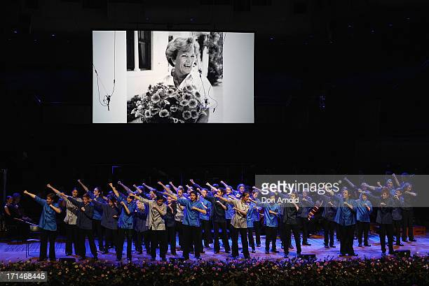 Members of the Sydney Children's Choir perform at a state memorial service for the late Hazel Hawke exwife of former Australian Prime Minister Bob...