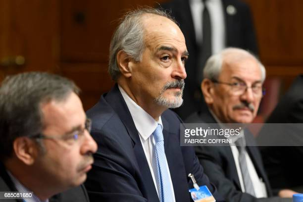 Members of the Syrian government delegation and Syrian chief negotiator and Ambassador of the Permanent Representative Mission of Syria to the United...