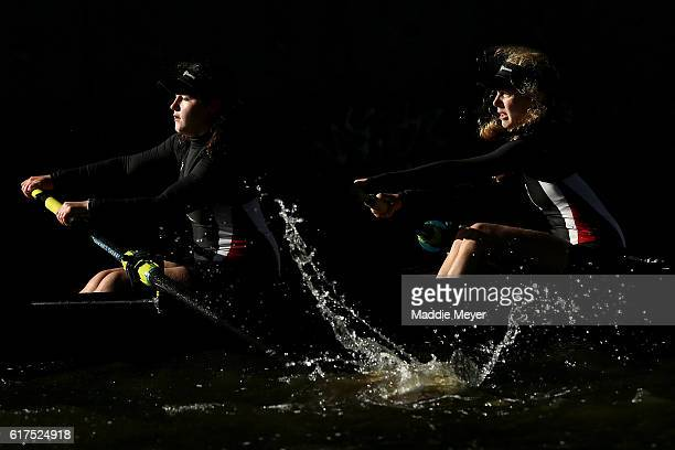 Members of the team from The Hun School compete in the Women's Youth Four's race during Day 2 of The 52nd Head of the Charles Regatta on October 23...