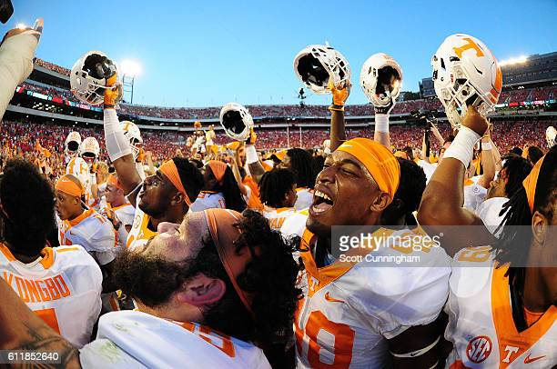 Members of the Tennessee Volunteers celebrate after the game against the Georgia Bulldogs at Sanford Stadium on October 1 2016 in Athens Georgia