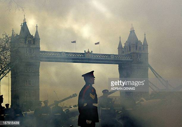 Members of the the Royal Gibraltar Regiment fire a sixtytwo gun salute to celebrate Queen Elizabeth's 78th birthday at the Tower of London 21 April...