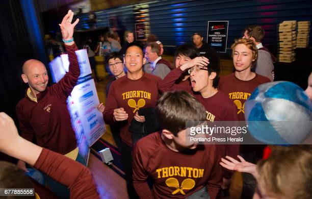 Members of the Thornton Academy tennis team have a little fn with a beach ball before the Varsity Maine awards at USM in Gorham on Tuesday May 2 2017...