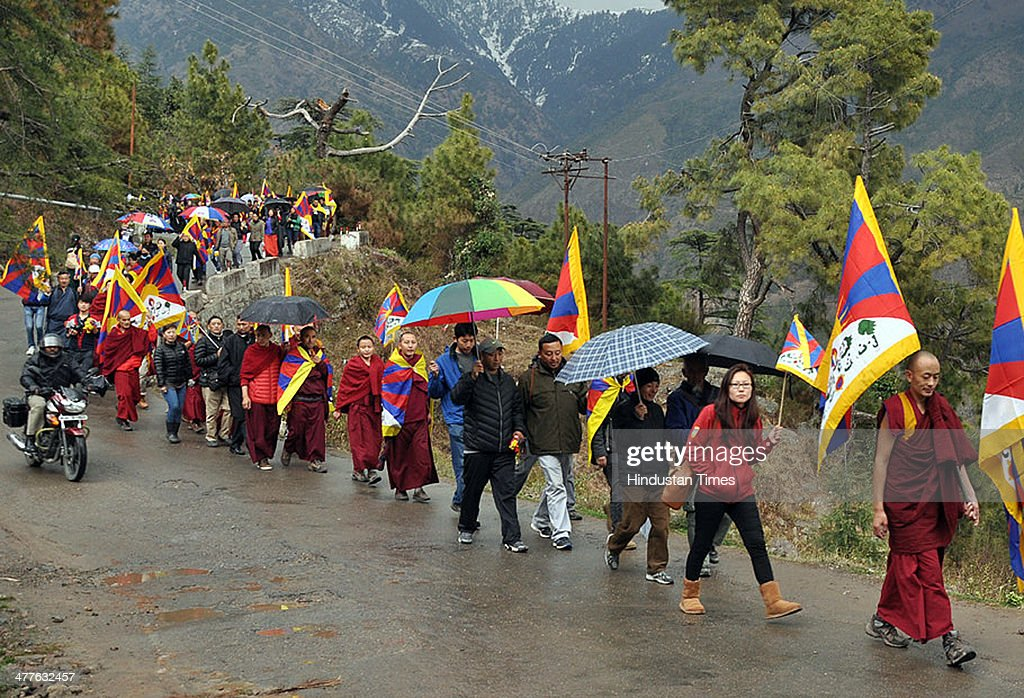 Members of the Tibetan Youth Congress take part in a demonstration to mark the 55th anniversary of the failed uprising in the Tibetan capital Lhasa in 1959 on March 10, 2014 in Dharamsala, India. The group demonstrated in support of the 127 people who have self-immolated to protest China's policy towards Tibet and pressed China to allow independent media into Tibet.