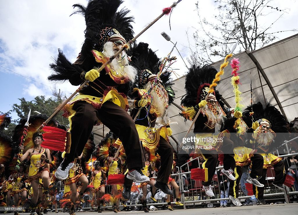 Members of the Tobas brotherhood perform during the Carnival of Oruro, in the mining town of Oruro, 240 km south of La Paz on February 9, 2013. The Carnival of Oruro was inscribed by UNESCO on the Representative List of the Intangible Cultural Heritage of Humanity in 2008. AFP PHOTO/AIZAR RALDES