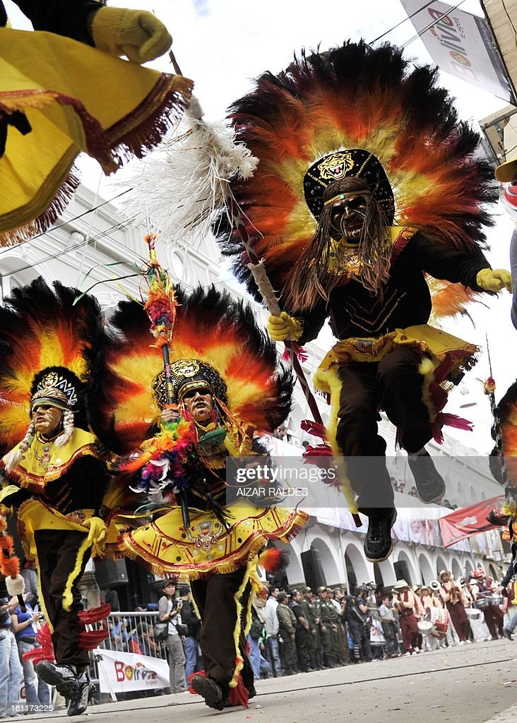 Members of the Tobas brotherhood perform during the Carnival of Oruro, in the mining town of Oruro, 240 km south of La Paz on February 9, 2013. The Carnival of Oruro was inscribed by UNESCO on the Representative List of the Intangible Cultural Heritage of Humanity in 2008.