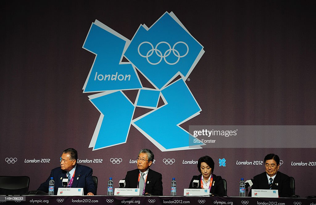 Members of the Tokyo 2020 Olympic bid, Yoshiro Mori (l) Tsunekazu Takeda, Seiko Hashimoto and Masato Mizuno speak during a Press conference at The Main Press Center on July 28, 2012 in London, England.
