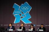 Members of the Tokyo 2020 Olympic bid Yoshiro Mori Tsunekazu Takeda Seiko Hashimoto and Masato Mizuno speak during a Press conference at The Main...