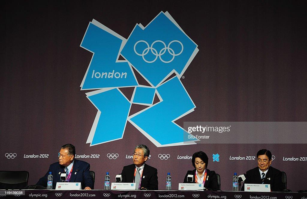Members of the Tokyo 2020 Olympic bid, Yoshiro Mori (l) Tsunekazu Takeda, Seiko Hashimoto and Masato Mizuno speak during a Press conference at The Main Press Center on July 28, 2012 in London, England.