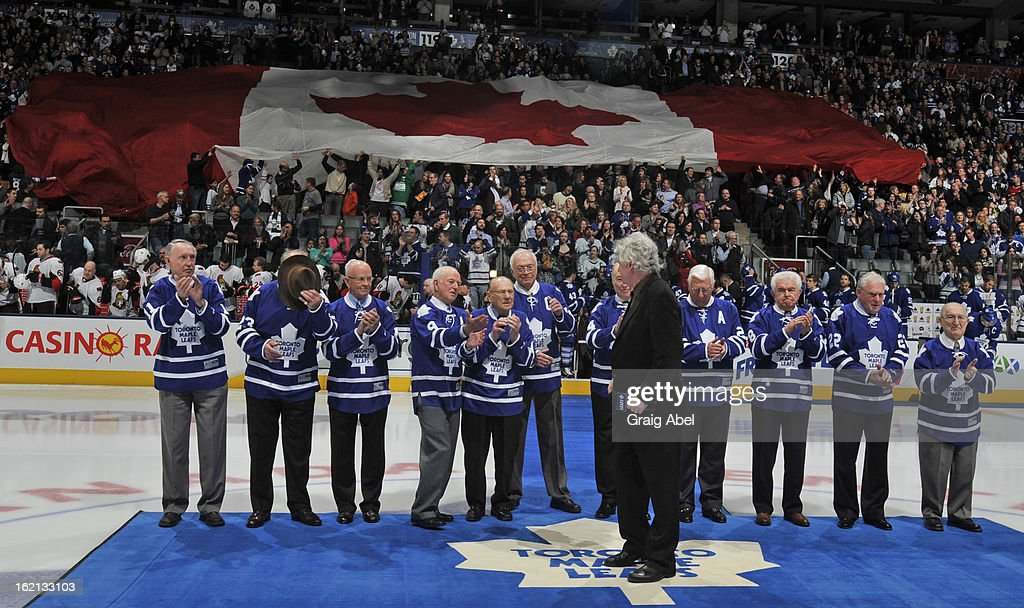 Members of the Toronto Maple Leafs 1963 Stanley Cup winning team take part in an on ice ceremony prior to NHL game action between the Toronto Maple Leafs and the Ottawa Senators February 16, 2013 at the Air Canada Centre in Toronto, Ontario, Canada.