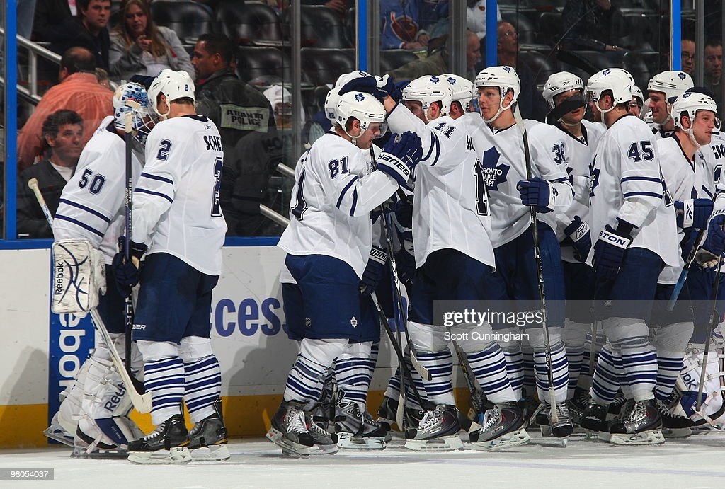 Members of the Toronto Maple Leafs celebrate after the game against the Atlanta Thrashers at Philips Arena on March 25, 2010 in Atlanta, Georgia.