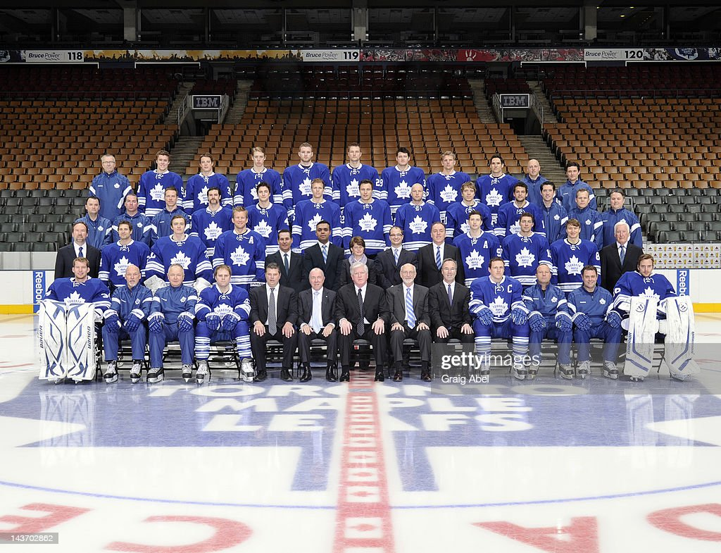 Members of the Toronto Maple Leafs pose for the official 2011-2012 team photograph at Air Canada Centre on April 7, 2012 in Toronto, Ontario, Canada.