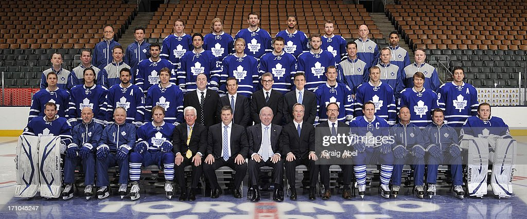 Members of the Toronto Maple Leafs pose for the official 2012-2013 team photograph at Air Canada Centre on May 16, 2013 in Toronto, Ontario, Canada.