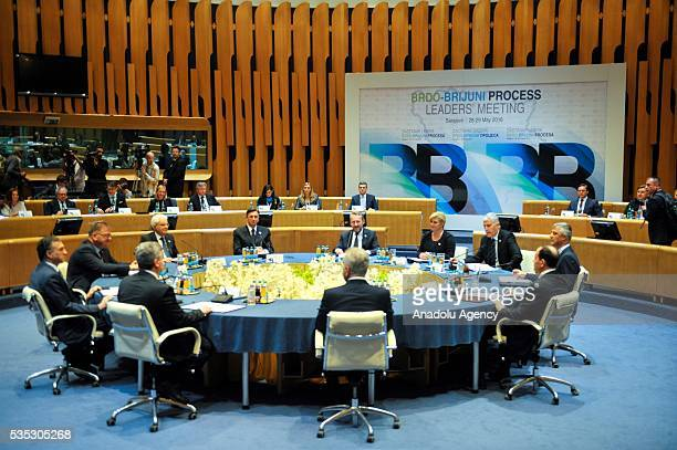 Members of the Tripartite Bosnian Presidency Dragan Covic Mladen Ivanic and Bakir Izetbegovic Italian President Sergio Mattarella Croatian President...