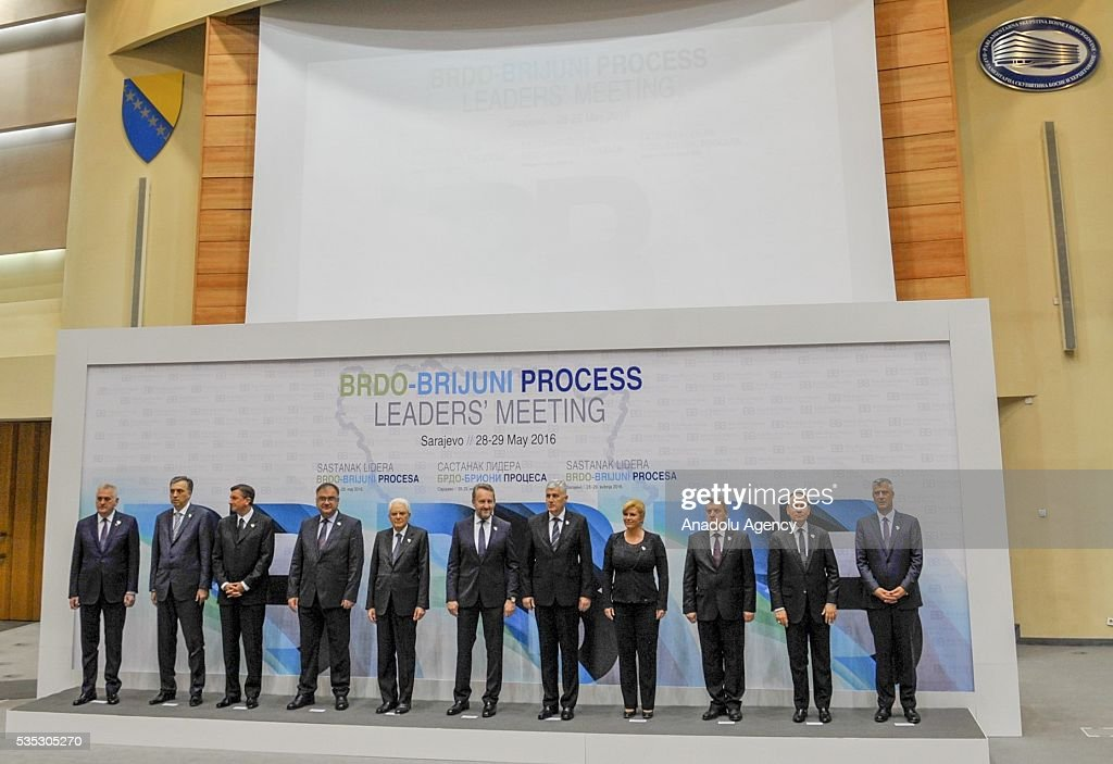 Members of the Tripartite Bosnian Presidency Dragan Covic (5th R), Mladen Ivanic (4th L) and Bakir Izetbegovic (C), Italian President Sergio Mattarella (5th L), Croatian President Kolinda Grabar-Kitarovic (4th R), President of Serbia Tomislav Nikolic (L), President of Montenegro Filip Vujanovic (2nd L), Macedonian President Gyorge Ivanov (3rd R), Slovenian President Borut Pahor (3rd L), Albanian President Bujar Nishani (2nd R) and Kosovan President Hashim Thaci (R) pose for a family photo during Brdo-Brijuni Process Leaders' Meeting in Sarajevo, Bosnia and Herzegovina on May 29, 2016.