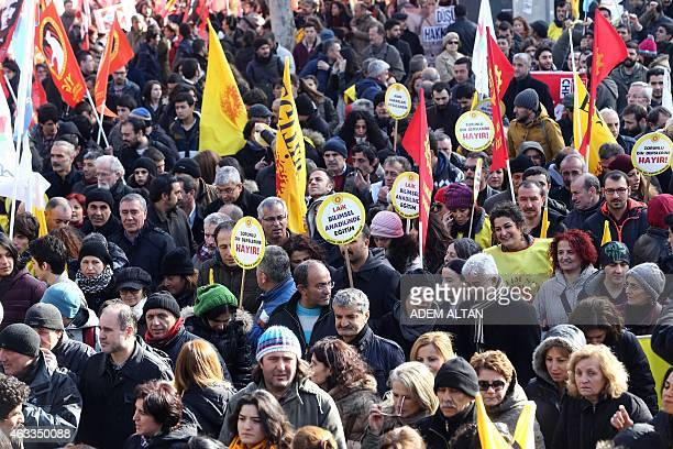 Members of the Turkish education unions demonstrate to protest against the government's education policies in Ankara on February 13 2015 Secular...