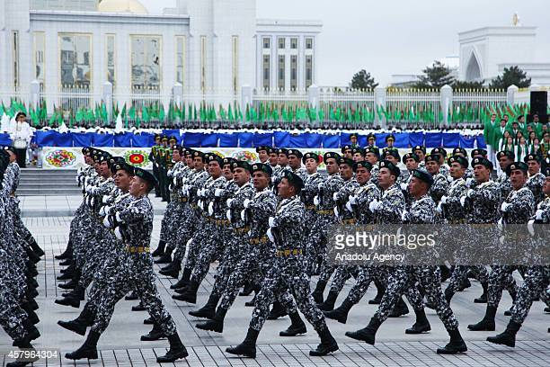 Members of the Turkmenisten Army march during a military parade marking the 23rd anniversary of Turkmenistans independence from the Soviet Union on...