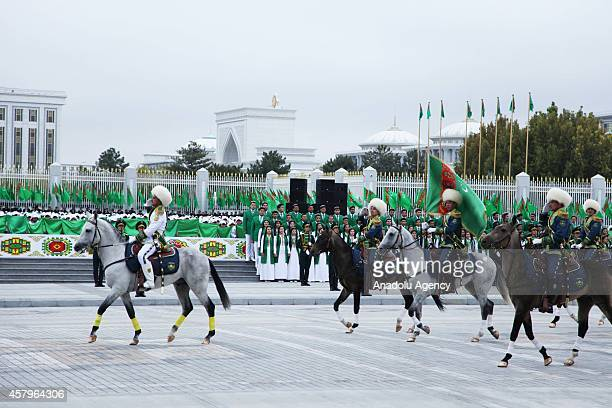 Members of the Turkmenisten Army take part in a military parade marking the 23rd anniversary of Turkmenistans independence from the Soviet Union on...