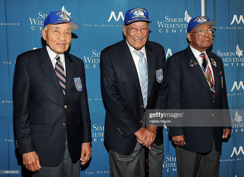 Members of the Tuskegee Airmen (L to R) Edward Tillmon, Jerry Hodges and Leo Thornhill arrive at the Simon Wiesenthal Center's Annual National Tribute Dinner Honoring Jerry Bruckheimer at The Beverly Hilton Hotel on May 23, 2012 in Beverly Hills, California.