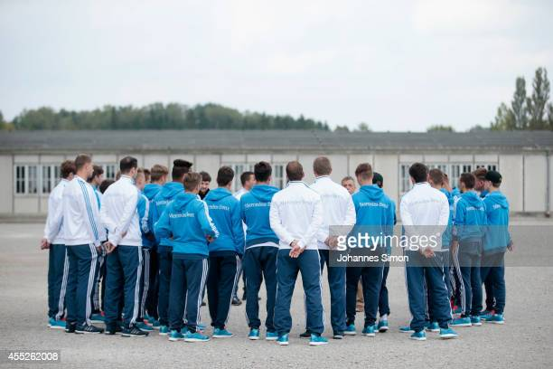 Members of the U17 German national football team visit the Concentration Camp Memorial Dachau on September 11 2014 in Dachau Germany