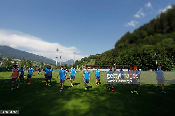 Members of the U21 German National team walk around during a training session on June 6 2015 in Leogang Austria