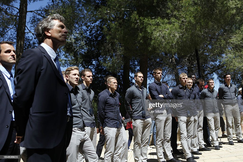 Members of the U21 Germany football team seen during a visit in Yad Vashem on March 25, 2013 in Jerusalem, Israel. Yad Vashem is Israel's official memorial to the Jewish victims of the Holocaust.