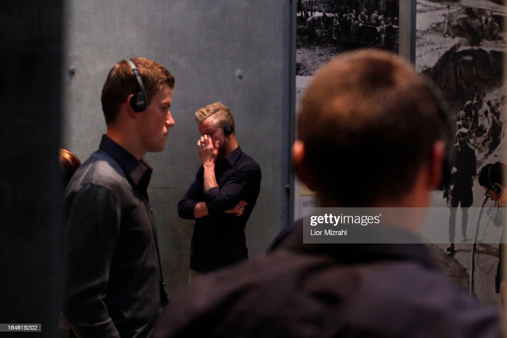 Members of the U21 Germany football team seen during the visit of Yad Vashem on March 25, 2013 in Jerusalem, Israel. Yad Vashem is Israel's official memorial to the Jewish victims of the Holocaust.