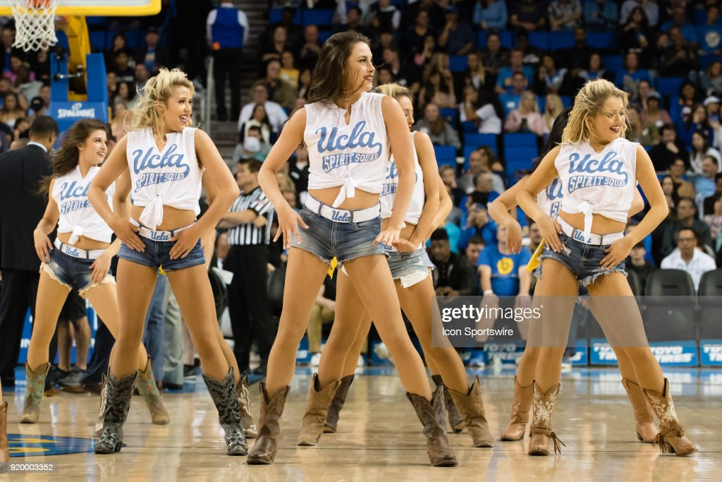 Members of the UCLA Bruins Dance Team perform during a time out during the game between the Oregon Ducks and the UCLA Bruins on February 17, 2018, at Pauley Pavilion in Los Angeles, CA.