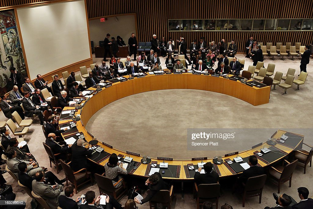 Members of the U.N. Security Council meet to vote on imposing a fourth round of sanctions against North Korea in an attempt to halt its nuclear and ballistic missile programs on March 7, 2013 in New York City. North Korea vowed today to launch a preemptive nuclear strike against the United States.