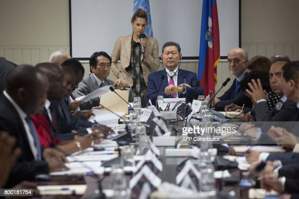 Members of the UN Security Council meet with Haitians lawmakers at the National Palace in PortauPrince on June 23 2017 / AFP PHOTO / Pierre Michel...