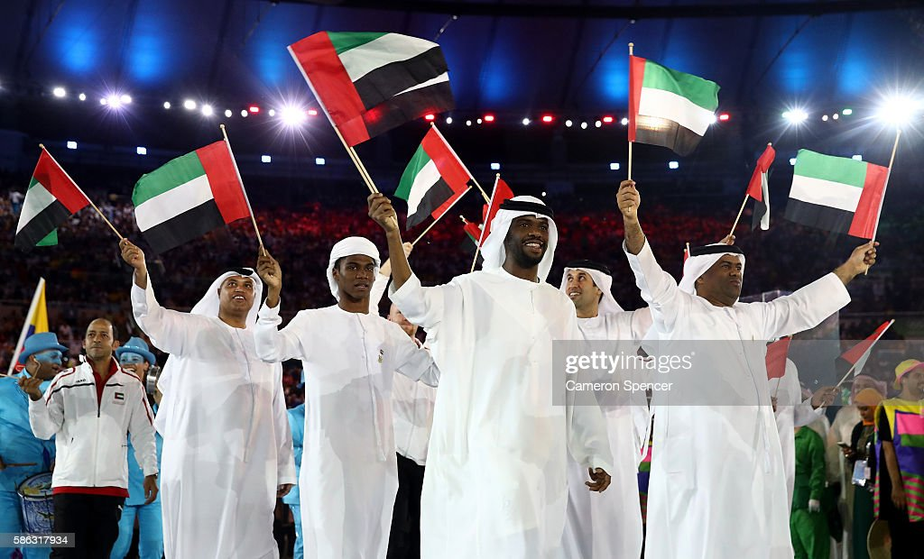 Members of the United Arab Emirates team take part during the Opening Ceremony of the Rio 2016 Olympic Games at Maracana Stadium on August 5 2016 in...