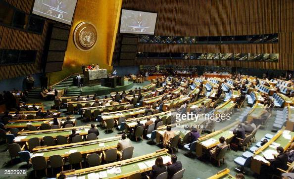 Members of the United Nations General Assembly hold a meeting on HIV/AIDS at UN headquarters September 22 2003 in New York City According to a report...