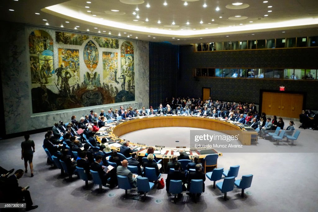 Members of the United Nations Security Council hold a meeting on the situation concerning Iraq on September 19 2014 at UN headquarters in New York...