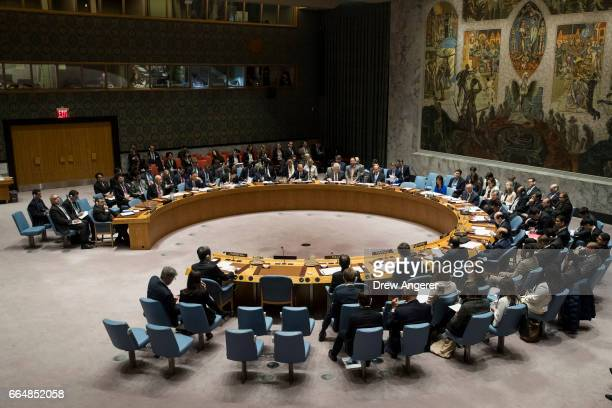 Members of the United Nations Security Council meet at UN headquarters April 5 2017 in New York City The Security Council is holding emergency talks...
