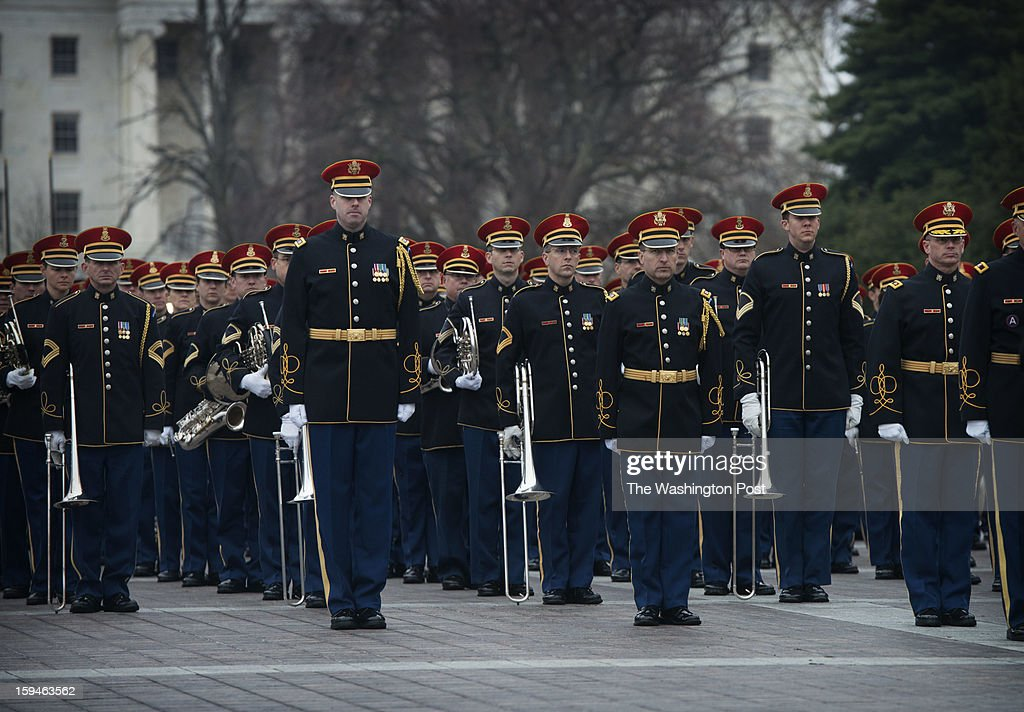Members of the United States Army Band 'Pershing's Own' participate in a dress rehearsal for the Presidential Inauguration on Sunday, January 13, 2013.