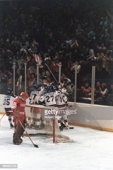 Members of the United States hockey team celebrate a goal against Vladislav Tretiak of the Soviet Union during the game in the 1980 Winter Olympics...