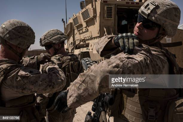 Members of the United States Marine Corp Task Force South West prepare for a patrol of their base on September 10 2017 at Camp Shorab in Helmand...