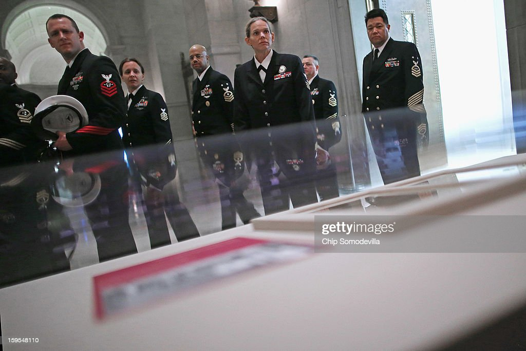 Members of the United States Navy, in nation's capital as part of the 2012 NAVSEA Sailor of the Year program, take a close look at two hand-written pages from President George Washington's inaugural address that are on exhibit at the National Archives January 15, 2013 in Washington, DC. The first president of the United States, Washington delivered the eight-page address before a meeting of Congress April 30, 1789 in New York City, the temporary seat of the newly-formed federal government.