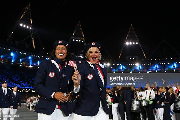Members of the United States Olympic team enter the stadium during the Opening Ceremony of the London 2012 Olympic Games at the Olympic Stadium on...