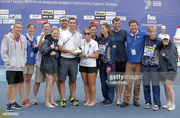 Members of the United States Open Water Swimming team including Haley Anderson and Jordan Wilimovsky pose with the Best Open Water Swimming team...