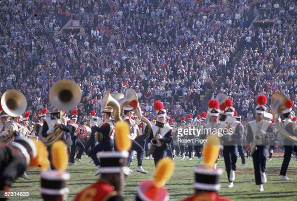 Members of the University of Arizona marching band perform on the field during the halftime show at Super Bowl One between the Kansas City Chiefs and...