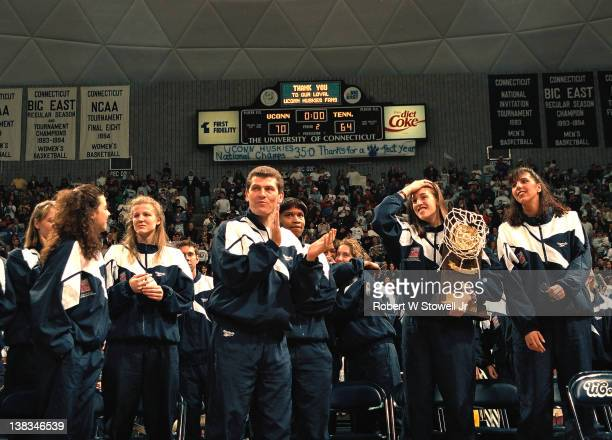 Members of the University of Connecticut women's basketball team celebrate at a pep rally in their honor following their victory at the 1995 National...