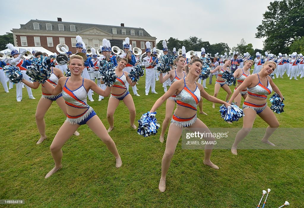 Members of the University of Florida marching band perform during US First Lady Michelle Obama's 'Let's Move-London' event at the Winfield House in London on July 27, 2012, hours before the start of the London 2012 Olympic Games. AFP PHOTO/Jewel Samad