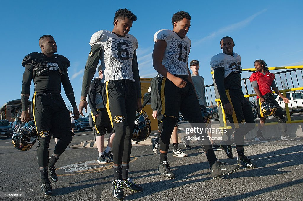 Members of the University of Missouri Tigers Football Team return to practice at Memorial Stadium at Faurot Field on November 10 2015 in Columbia...